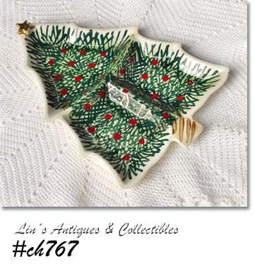 VINTAGE CHRISTMAS TREE SHAPED DISH