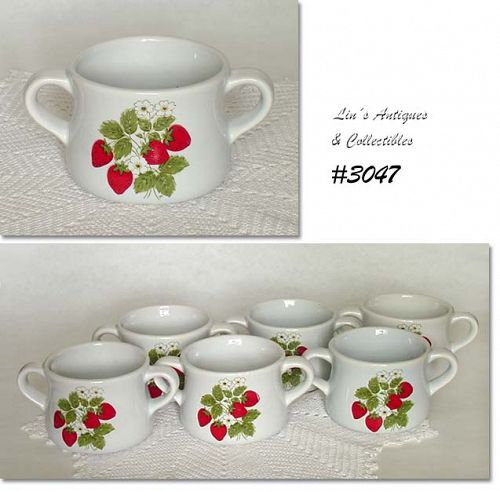 McCOY POTTERY SET OF SIX STRAWBERRY COUNTRY SOUP BOWLS