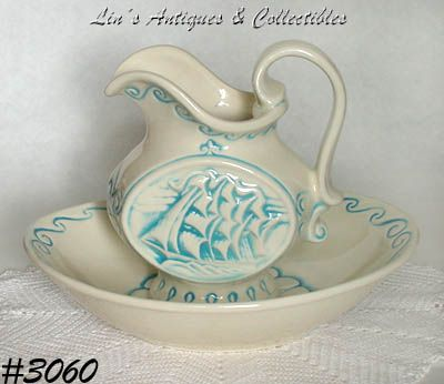 McCOY POTTERY -- CLIPPER SHIP PITCHER AND BOWL