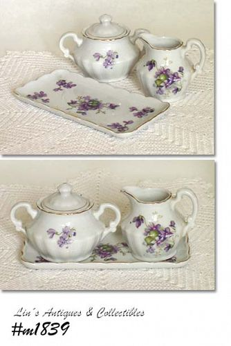 VINTAGE WILD VIOLETS CREAMER AND SUGAR WITH MATCHING TRAY