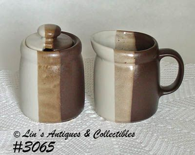 McCOY POTTERY -- SANDSTONE CREAMER AND SUGAR