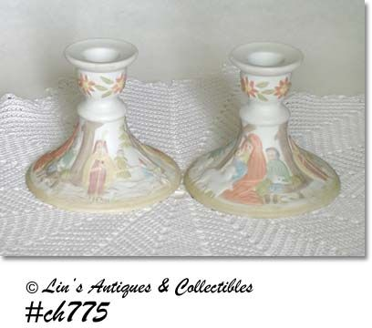 VINTAGE LEFTON NATIVITY SCENE CANDLE HOLDERS DATED 1982