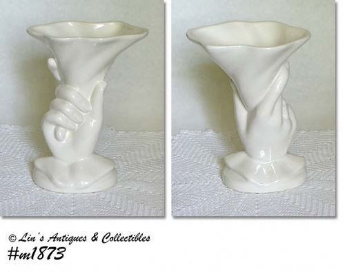 "HULL POTTERY VINTAGE 7 3/4"" TALL WHITE HAND VASE"