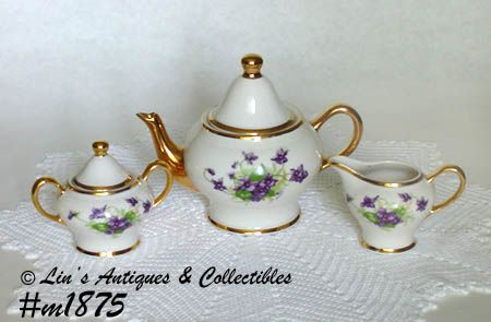 KINGWOOD CHINA WILD VIOLETS TEA SET TEA FOR TWO TEAPOT CREAMER SUGAR
