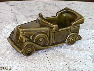 McCOY POTTERY VINTAGE FLORALINE AVOCADO GREEN AUTO PLANTER