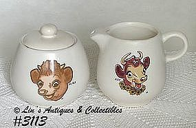 McCOY POTTERY -- ELSIE AND ELMER CREAMER AND SUGAR