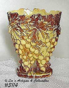 "McCOY POTTERY -- ""GRAPES"" VASE (YELLOW W/BROWN)"