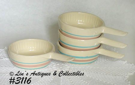 McCOY POTTERY -- 4 STONECRAFT PINK AND BLUE CASSEROLES