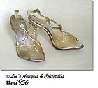 CONNIE LADIES VINTAGE PUMPS WITH CARVED LUCITE HEELS