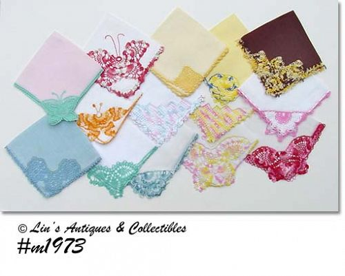 ONE DOZEN VINTAGE HANKIES HANDKERCHIEFS WITH FANCY CROCHET