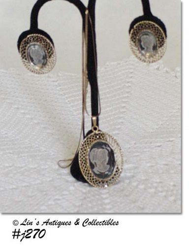 WHITING DAVIS VINTAGE CAMEO PENDANT AND MATCHING EARRINGS