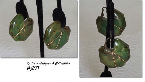 LARGE BAKELITE EARRINGS (MARBLED GREEN)