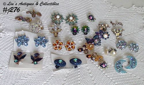 LOT OF 16 PAIRS VINTAGE EARRINGS CLIP BACK AND SCREW BACK STYLES