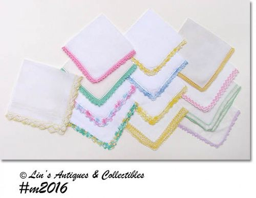 ONE DOZEN ASSORTED VINTAGE CROCHET EDGE HANKIES