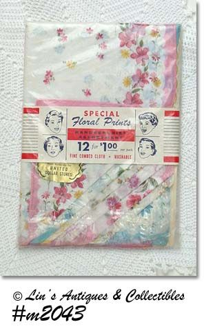 ONE DOZEN LADY'S VINTAGE FLORAL HANKIES MINT IN ORIGINAL PACKAGE