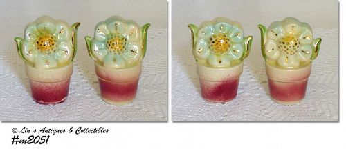 SHAWNEE POTTERY VINTAGE FLOWER SHAKER SET WITH GOLD TRIM