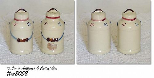 SHAWNEE POTTERY VINTAGE MILK CAN SHAKER SET WITH SHAWNEE LABEL