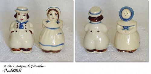 "SHAWNEE POTTERY VINTAGE 5"" TALL JACK AND JILL SHAKER SET"
