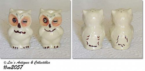 SHAWNEE POTTERY -- OWL SHAKER SET