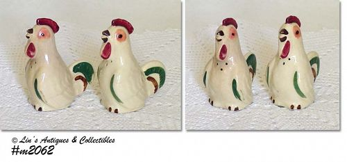 SHAWNEE POTTERY VINTAGE CHANTICLEER PEPPER SHAKERS 2 AVAILABLE