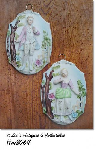 LEFTON VINTAGE COLONIAL COUPLE PAIR OF WALL PLAQUES