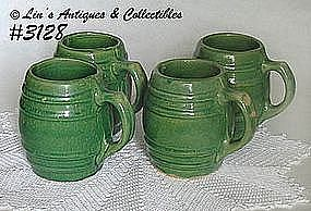 McCOY POTTERY -- GREEN STONEWARE MUGS (4)