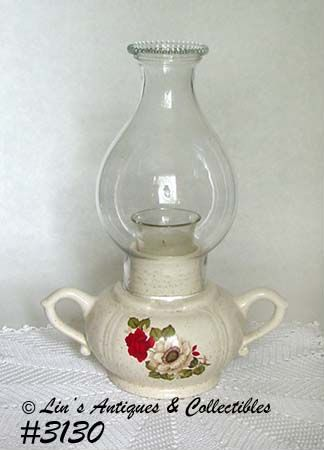 McCOY POTTERY -- RED ROSE CANDLE LAMP