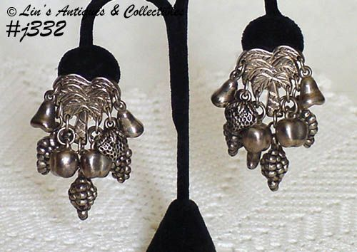 SILVER-TONE PALM TREES WITH FRUIT DANGLES VINTAGE CLIP EARRINGS