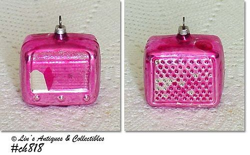 VINTAGE GLASS PINK ORNAMENT SHAPED LIKE A RADIO