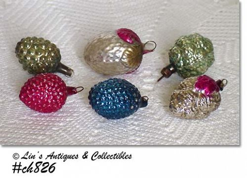LOT OF 6 ASSORTED VINTAGE GLASS BERRIES ORNAMENTS