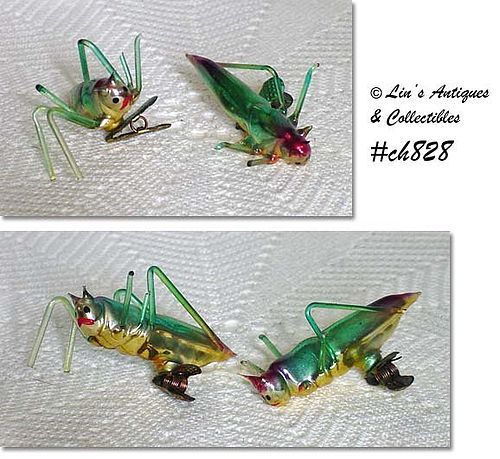 2 VINTAGE GLASS GRASSHOPPER ORNAMENTS/CLIPS MADE IN ITALY