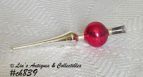 VINTAGE RED AND SILVER MINI CHRISTMAS TREE TOPPER