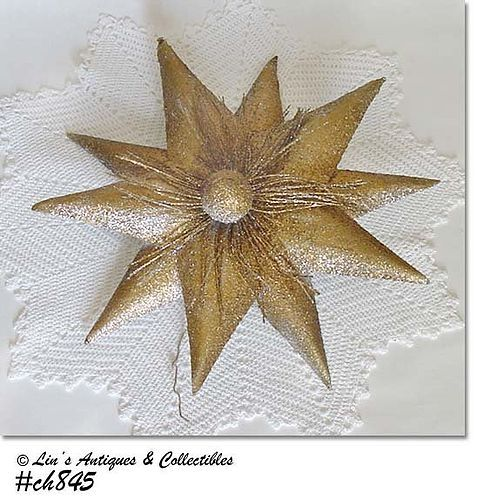 GOLD STAR VINTAGE TREE TOPPER OR HANGING DECORATION