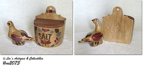 CLEMINSON POTTERY -- VINTAGE SALT BOX AND DISTLEFINK SHAKER