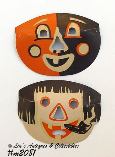 LOT OF 2 VINTAGE MASKLITE HALLOWEEN PAPER MASKS