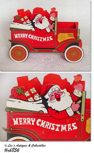 SANTA'S CAR VINTAGE GOODIES OR CARD HOLDER