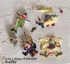 "LOT OF 5 VINTAGE ""FISHING"" ORNAMENTS"