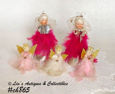 LOT OF 5 VINTAGE CHRISTMAS FEATHER ANGELS