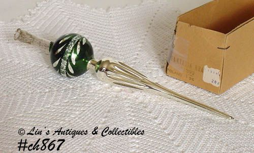 VINTAGE GLASS CHRISTMAS TREE TOPPER MADE IN POLAND