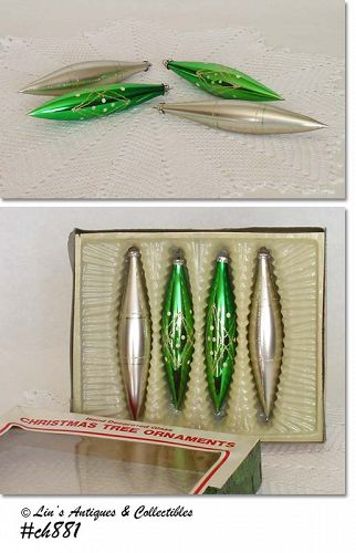 4 VINTAGE GLASS ICICLE SHAPE ORNAMENTS MADE IN ROMANIA