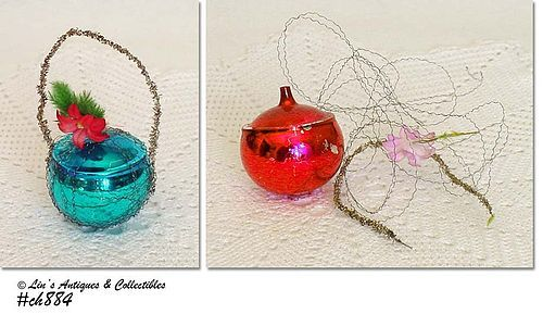 VINTAGE GLASS CHRISTMAS ORNAMENT WITH WIRE NETTING PLUS 1 FREE ONE