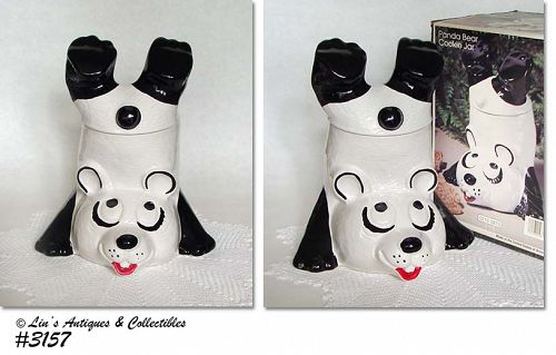 McCOY POTTERY -- UPSIDE DOWN PANDA COOKIE JAR WITH ORIGINAL BOX