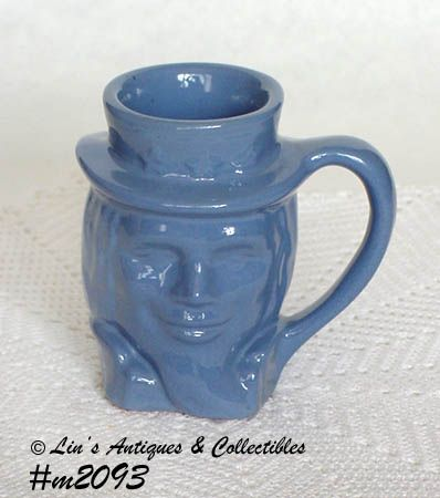 FRANKOMA POTTERY VINTAGE UNCLE SAM MUG IN BLUE DATED 1976