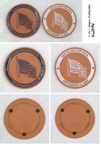 FRANKOMA POTTERY CHOICE OF 9-11 SEPTEMBER 11TH TRIBUTE TRIVETS
