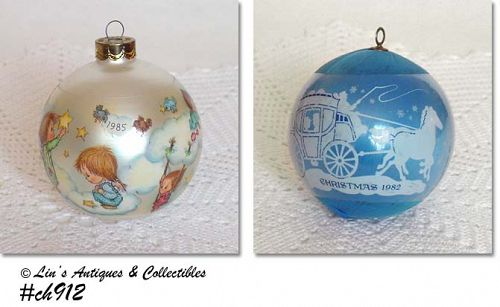 VINTAGE HALLMARK ORNAMENTS -- CHRISTMAS 1982 AND 1985