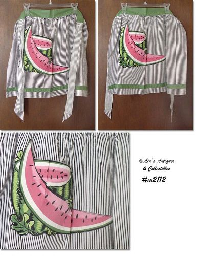 VINTAGE STRIPED WITH WATERMELON POCKETS HALF APRON