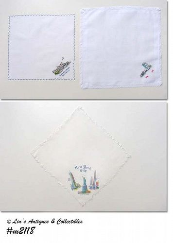 THREE NEW YORK SOUVENIR HANDKERCHIEFS