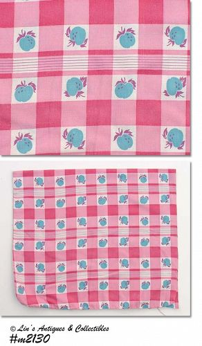 PINK RED AND WHITE WITH BLUE FRUIT VINTAGE FEED SACK FEEDSACK