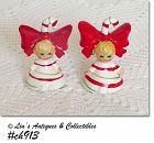 VINTAGE LEFTON CHINA CANDY CANE KIDS SHAKER SET