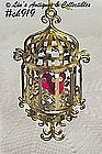 RED BIRD IN BIRDCAGE ORNAMENT
